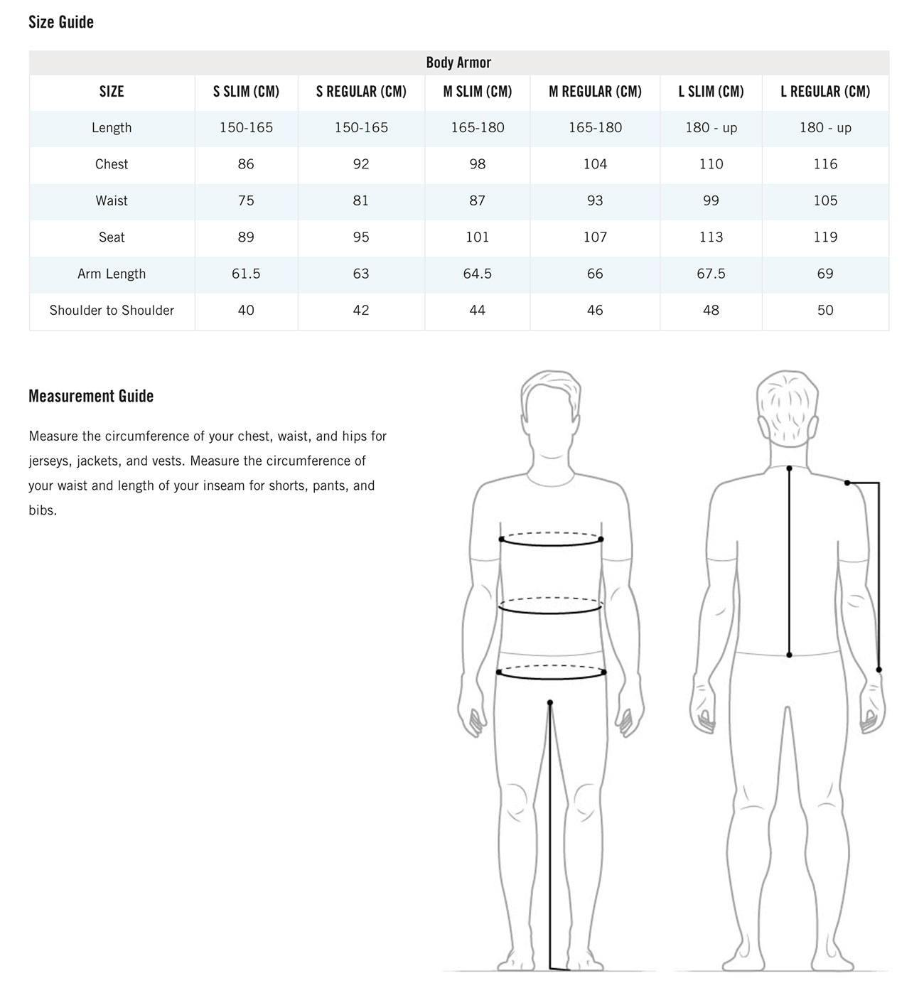 POC BACKPROTECTOR SIZECHART