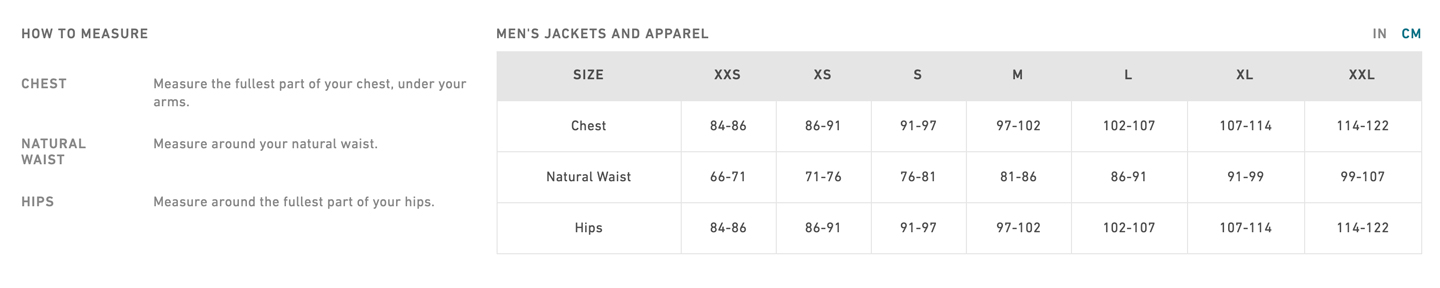 mens apparel sizechart
