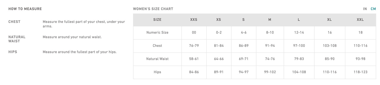 womens sizechart