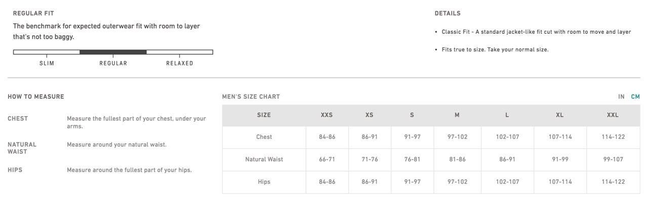 evergreen men vest sizechart